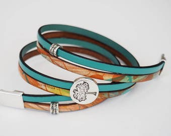 Seafoam Tree, Leather Wrap Bracelet, Whirly Wrap, Multi Colored Leather, Seafoam leather, pewter Tree of Life, secure magnet, easy on