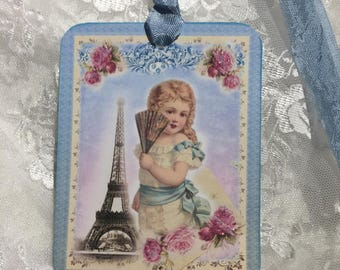 XL Gift Tag Set Girl With Eiffel Tower ( Set of 6 ) Notecards, Stationery, Scrapbooking, Journals, Gift Item, Gift Wrapping