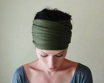 DARK OLIVE Green Head Scarf  - Army Green Jersey Hair Wrap - Yoga Headband - Extra Wide Headband - Bohemian Hair Accessories - Activewear