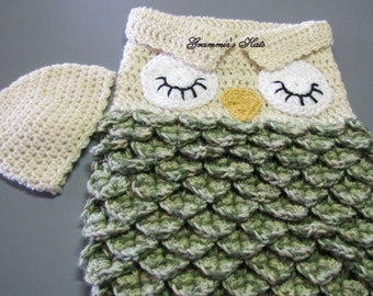Baby owl cocoon with sleepy eyes. Desert camo and aran.   Includes beanie