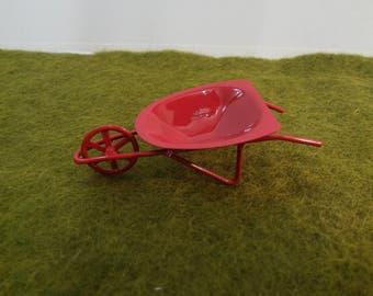 Red Wheel Barrel Miniature for Fairy Garden or Dollhouse Spring Fun