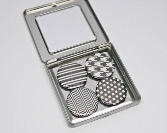 Black and White Geometric Magnet Set