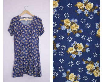 Vintage 1990's Grunge Blue Floral Mini Dress S