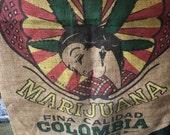 Vintage Burlap Marijuana Coffee Bag Wall Decor
