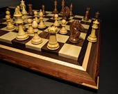 Premium Handcrafted Hardwood Chess Set Featuring Two Tiered Exotic Wood Borderless Board Exotic Wood Checkers Set Bocote Zebrawood Gift Idea