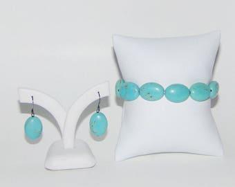 Jewelry Set, Light Turquoise Earrings, Light Turquoise Bracelet, Magnesite Earrings, Magnesite Bracelet,  Oval Bracelet, Stretch Bracelet