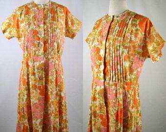1950s Bright Floral Print Side Pleated Shirtwaist Dress by Tucker Grossman Design