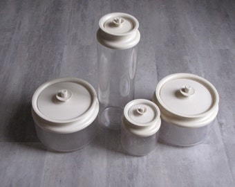 Vintage Cream Cap See - Through Tupperware Canisters - Set of Four