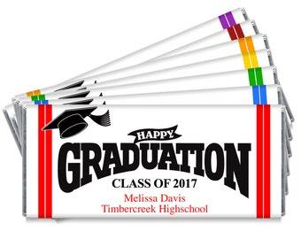 Set of 12 - Happy Graduation High School College 2017 Graduation Favors - 2017 Personalized Graduation Chocolate Wrappers