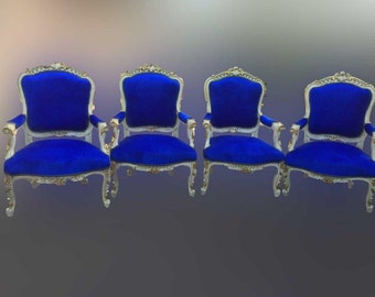 Royal blue bergere chair. Antique turn of the century 4 chairs available