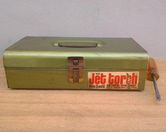 Vintage tool box - Jet Torch - green metal tool box - industrial decor - tackle box - Bernzomatic - utility box -  craft storage box