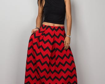 Maxi Skirt, Chevron Skirt, Red and black skirt, Floor Length Skirt , Women's Skirt, Pleated skirt, high waist skirt : Feel Good No.3