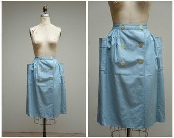 Vintage 50s Skirt • Set Sail • Light Blue 50s Wrap Skirt Size Medium