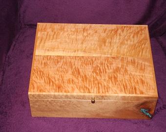 Jewelry Box, Watch Box, Valet, Handmade,  Birds Eye Maple, Figured Maple (JB0073)