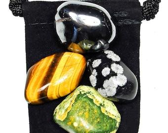 PROBLEM RESOLUTION Tumbled Crystal Healing Set - 4 Gemstones w/Description & Pouch - Hematite, Rhyolite, Snowflake Obsidian, and Tiger's Eye