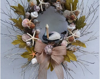 Beach Seashell Wreath Seaside Wreath Spring or summer Front Door Wreath with seashells and grasses