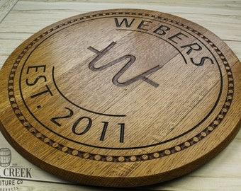 barrel head sign engraved barrel wedding gift barrel top custom engraved
