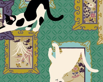 Neko III - Cats On Frames Teal from Quilt Gate USA