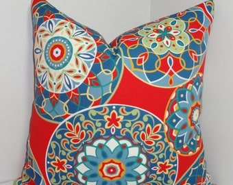 HARVEST SALE OUTDOOR Red Blue Yellow Medallion Pillow Cover Outdoor Porch Deck Pillow Cover 16x16