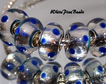 Handmade Murano Glass Bead Silver Foil with Navy Dots Fits European Bracelets White Pine Beads
