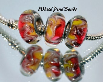 Strawberry Shortcake Murano Glass Bead Fits European Bracelets by White Pine Beads