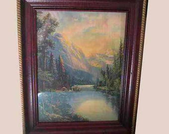 Antique Lithograph Framed R A Fox type Deer, Mountains, River, Trees, Outdoor Forest Scene Frame 14-3/4 H x 11-3/4 W Print 11-1/2 x 8-1/2