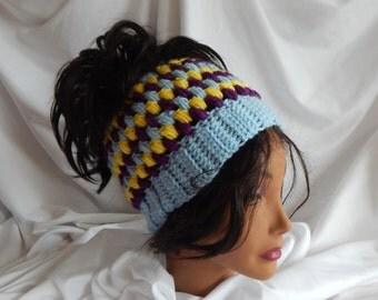 Pony Tail Messy Bun Hat - Crochet Woman's Fashion Hat - Blue, Yellow & Purple