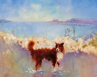"Art Print.""Border Collie With Family at the Seaside"" From my Original Oil Painting."