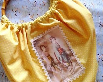 Japanese|Geisha|Vintage Photo| Bamboo Handle Fabric Bag|Yellow|Polka Dots|Rockabilly|Kitsch|Pinup