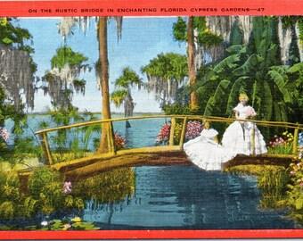 Cypress Gardens, Florida, Rustic Bridge - Linen Postcard - Vintage Postcard - Unused (UUU)