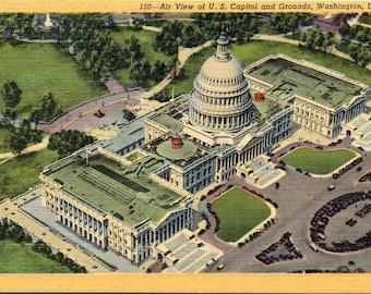 Washington D.C., U.S. Capitol, Grounds - Linen Postcard  - Vintage Postcard - Unused (VV)