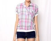 ON SALE Vintage 80's Pastel Plaid Collared Shirt / Slouchy Shirt / Spring Summer / S M