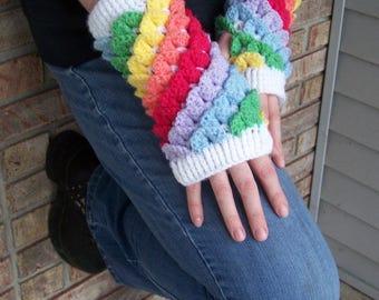 Unicorn Horn Fingerless Gloves--Rainbow Scale Fingerless Gloves