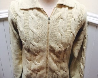 Vintage 1970s Macy's Mens Store Off-White Zip-Up Cardigan - M