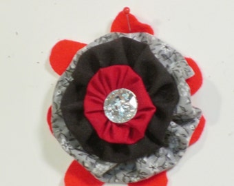 Quirky red black fabric pin/brooch