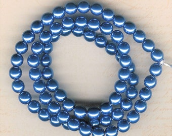 8mm Jablonex Sapphire Blue Czech Glass Pearl Beads, 75 pieces, 8mm Blue Glass Pearl, 8mm Sky Blue Pearl, 8mm Bright Blue Pearl, Sapphire