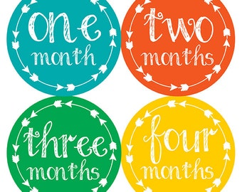 FREE GIFT, Tribal Arrow Month Stickers, Baby Month Stickers Tribal, Baby Boy, Primary Colors, Monthly Baby Stickers, Boy Month Stickers