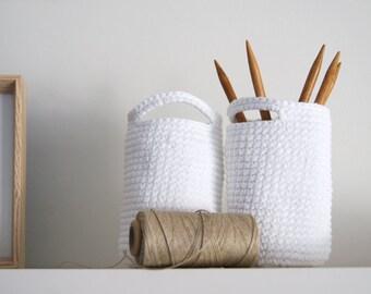 Set of 2. Crochet basket. Storage Basket. Cesta ganchillo. Round basket. Cestino uncinetto. Häkeln Korb. Office organization. Panier