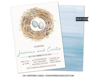 Twin or Triplet Baby Shower Invitation: multiples, eggs, feather the nest // Digital or Printed (FREE SHIPPING!)