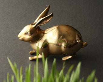 Vintage brass rabbit, Easter rabbit, brass bunny, Easter bunny