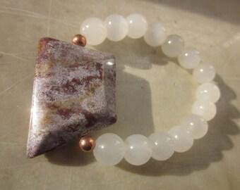 white Calcite Serpentine Ocean Jasper Bracelet: Innocence