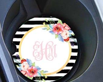 Monogram Car Coaster Set, Personalized Car Coaster, Floral Stripes, Cup Holder Coasters