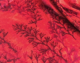 Vintage Home Interiors Red Fern Fabric. Length 3m Red Velvet. Remnant