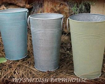 galvanized buckets galvanized pails farmhouse style chic flower vases table
