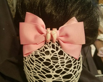 Ballet Bow with White Variable Hole Net Snood