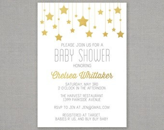 Baby Shower Invitation -- Gold Stars