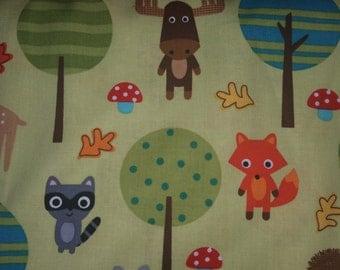 Woodland Pals by Ann kelle for Robert Kaufman Fabrics moose, deer, mushrooms, fox on green cotton quilt fabric