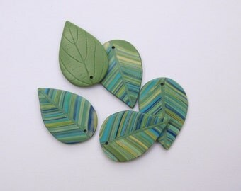 Leaf Charms, polymer clay top drilled beads, set of 5