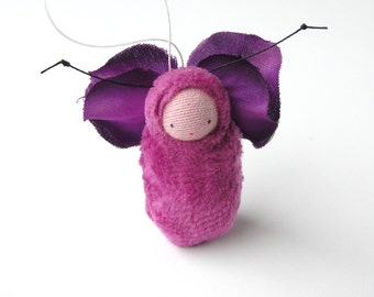 Fairy baby ornament // raspberry miniature doll // caterpillar // FB-2C1