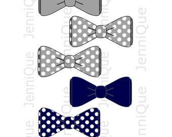 Printable Bow Tie Cut Outs, Bow Tie Baby Shower Decoration, 1st Birthday Idea, Photo Booth Idea, Navy and Gray